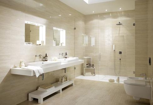 Bathroom tiles marazzi 04393 00001 - Salle de bain beige et blanc ...